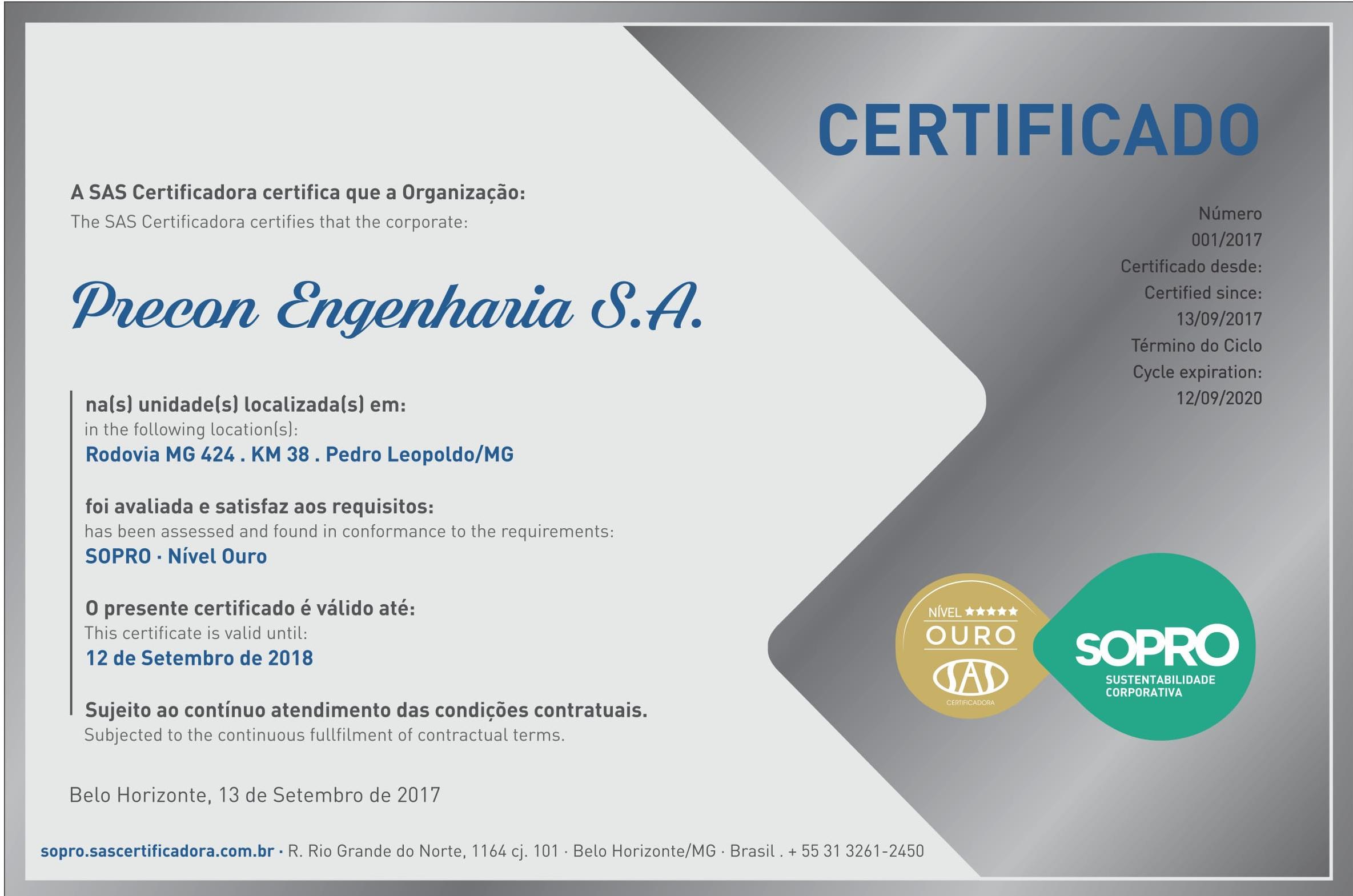 Precon Engenharia SA - Nivel OURO